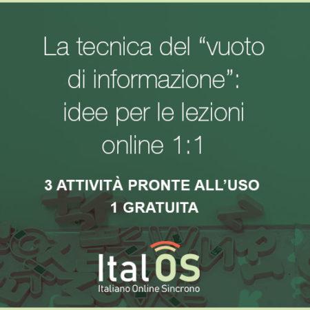 """La tecnica del """"vuoto di informazione"""": idee per le lezioni online 1:1"""