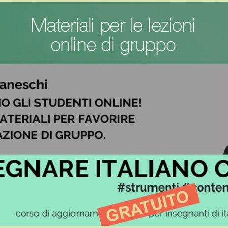 Materiali per favorire l'interazione di gruppo nelle lezioni online